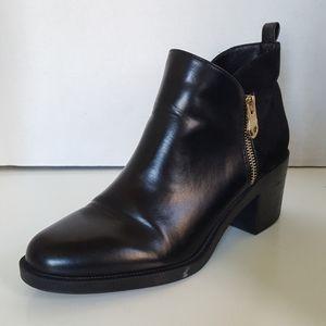 Zara Trafaluc Black Zip Blocked Heeled Ankle Boots